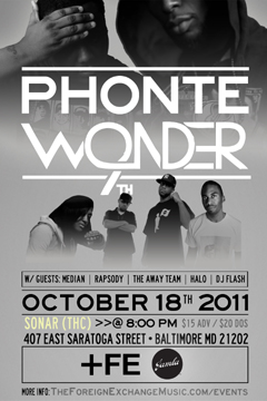 Phonte & 9th Wonder at Sonar (THC), Baltimore MD | Oct 18, 2011